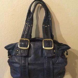 Sabina New York Blue Leather Satchel Tote bag